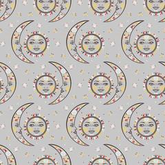 Vector bohemian celestial pattern