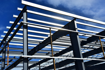 Steel commercial building under construction.