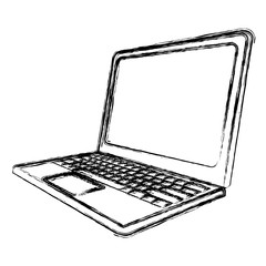 blurred silhouette tech laptop side view vector illustration