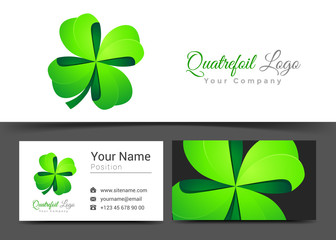 Four Leaf Green Clover. Lucky Quatrefoil. Good Luck Corporate Logo Business Card Sign Template. Creative Design Colorful Logotype Visual Identity Composition Multicolored Element. Vector Illustration