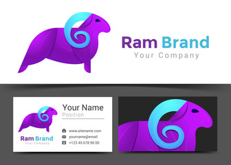 Ram Purple Corporate Logo and Business Card Sign Template. Creative Design with Colorful Logotype Visual Identity Composition Made of Multicolored Element. Vector Illustration