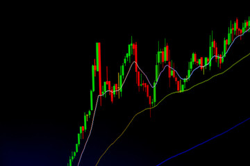 Stock market chart and Stock market data on LED display concept