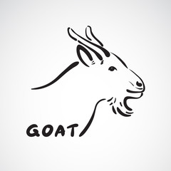 Vector of a goat head on white background. Farm Animals.
