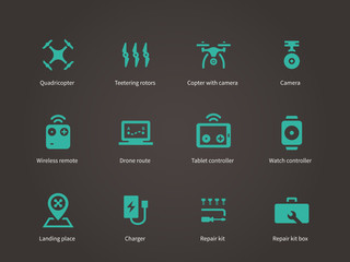Delivery air drone icons set.