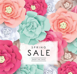 Spring sale poster with beautiful blossom flowers