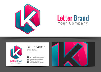 K Letter Corporate Logo and Business Card Sign Template. Creative Design with Colorful Logotype Visual Identity Composition Made of Multicolored Element. Vector Illustration