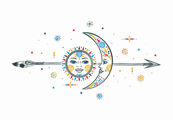 Bohemian sun moon arrow illustration