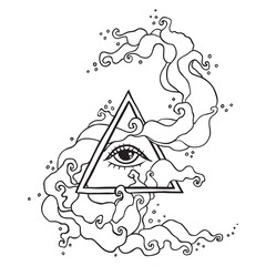 Eye in pyramid with mystic smoke