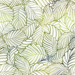 Green leaves vector seamless pattern