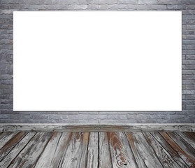 Empty poster in room interior with brick wall and wood floor background