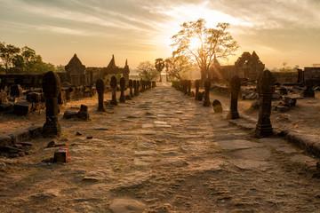 Vat Phou Champasak Sunrise morning time.World Heritage of Laos.