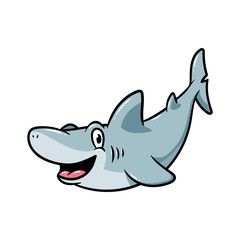 Friendly Cartoon Shark Vector Illustration