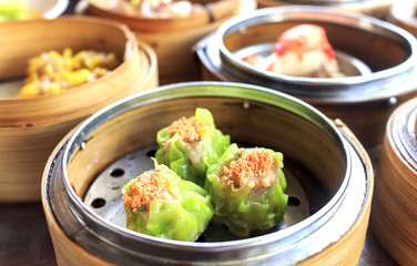 Dim Sum Thai food closeup image with soft-focus and over light