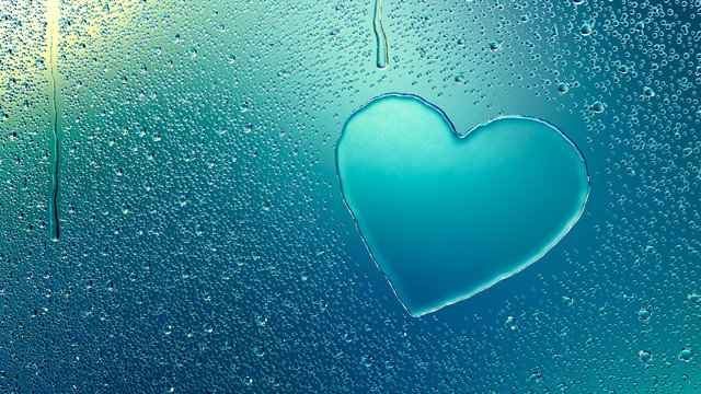 Water Drop Forming a Heart
