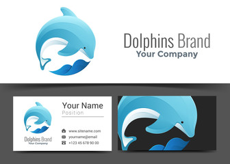 Dolphin Jumping Wave Corporate Logo and Business Card Sign Template. Creative Design with Colorful Logotype Visual Identity Composition Made of Multicolored Element. Vector Illustration