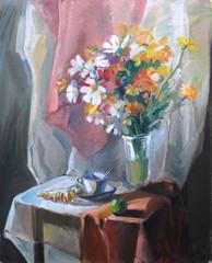 живопись масляными красками, натюрморт с цветами