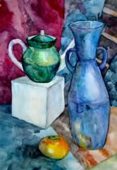 акварельная живопись, натюрморт с гипсовым кубом и вазой