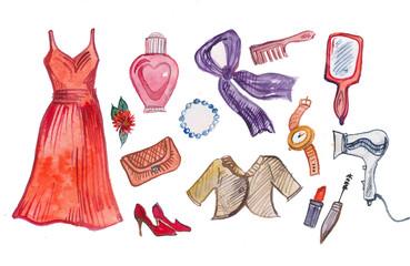 одежда, акварельная иллюстрация
