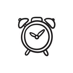Alarm clock sketch icon.