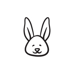 Easter bunny sketch icon.