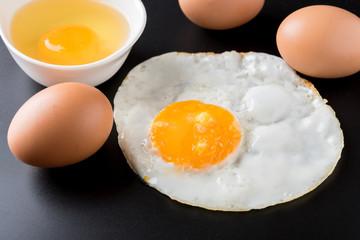 Aluminium Prints Egg fried eggs on black background, egg