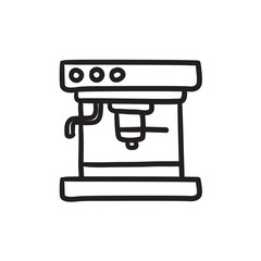 Coffee maker sketch icon.