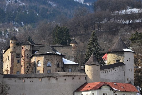 Closer look at the central part of Old Castle in Banska Stiavnica, Slovakia with surrounding fortification wall and bastions.