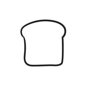 Single slice of bread sketch icon.