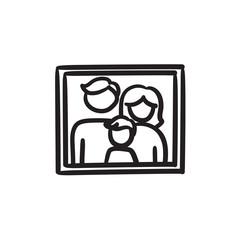 Family photo sketch icon.