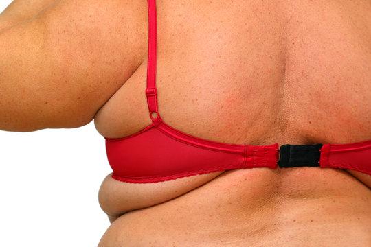 back of obese women in underwear