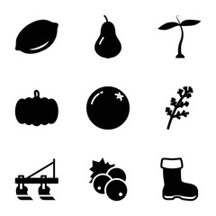 Set of 9 Agriculture filled icons