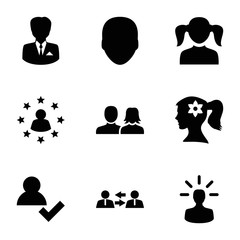 Set of 9 profile filled icons