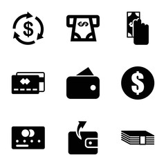 Set of 9 payment filled icons