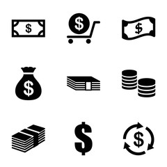 Set of 9 tax filled icons