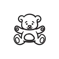 Teddy bear sketch icon.