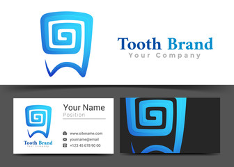 Tooth Dental Corporate Logo and Business Card Sign Template. Creative Design with Colorful Logotype Visual Identity Composition Made of Multicolored Element. Vector Illustration