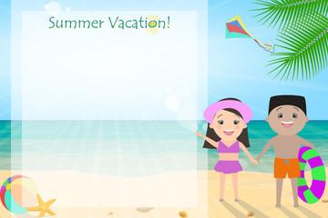 Summer holiday, summer vacation for children. Joyful kids on the beach. cartoon Vector