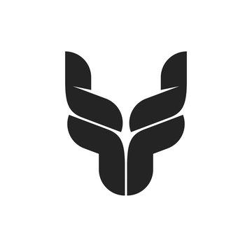 Bull head logo symbol, black bull horns emblem, ox head shape, breeding cattle logotype, red yak, dragon monochrome symbol, tattoo vector illustration isolated on white background
