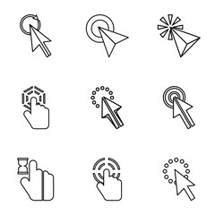 Pointer icons set, outline style