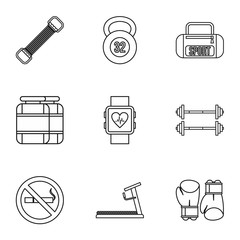 Workout icons set, outline style