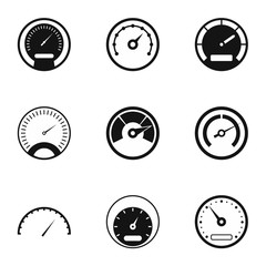 Speed measurement icons set, simple style