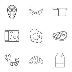 Morning meal icons set, outline style