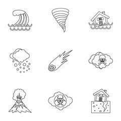 Natural emergency icons set, outline style