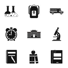 School icons set, simple style