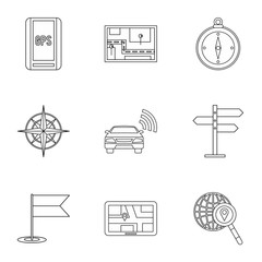 Search territory icons set, outline style