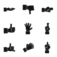 Fingers icons set, simple style