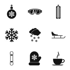 Weather winter icons set, simple style