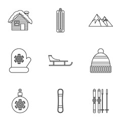 Winter holidays icons set, outline style