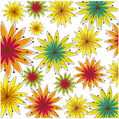 colorful background with several flowers vector illustration