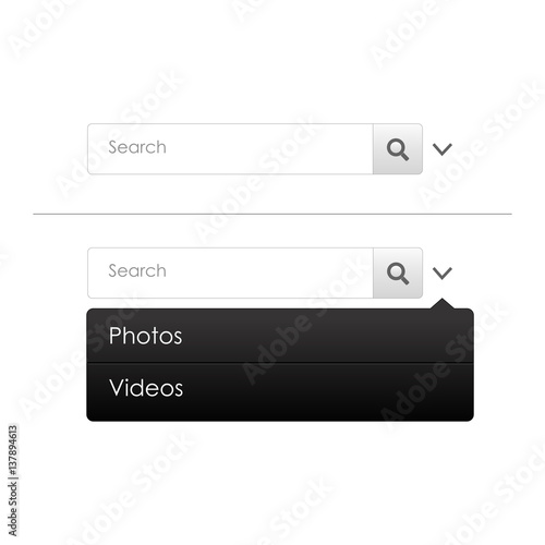 Search bar with dropdown photos and videos  Mockup can be use for